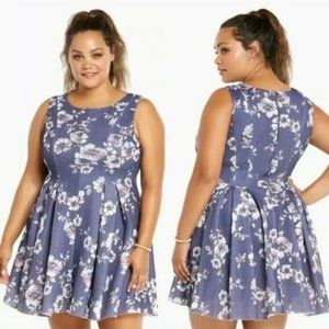 Torrid Mesh Floral Pleated Fit & Flare  Dress